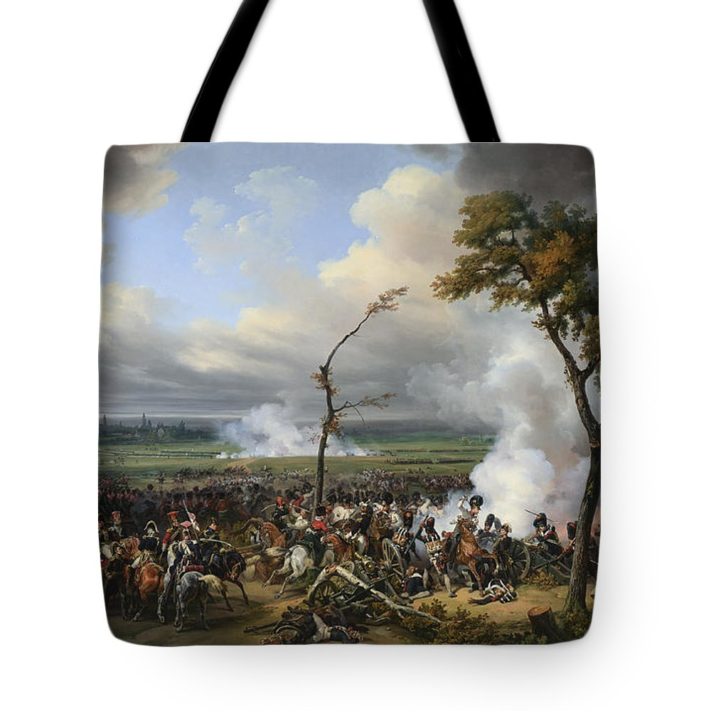 Emile-jean-horace Vernet Tote Bag featuring the painting The Battle Of Hanau by Celestial Images