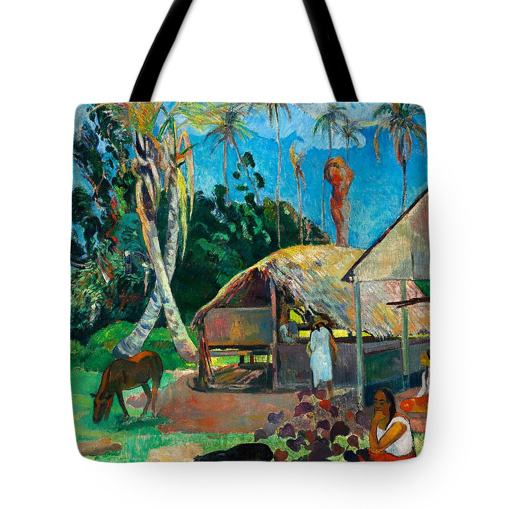 Paul Gauguin Tote Bag featuring the painting The Black Pigs by Paul Gauguin
