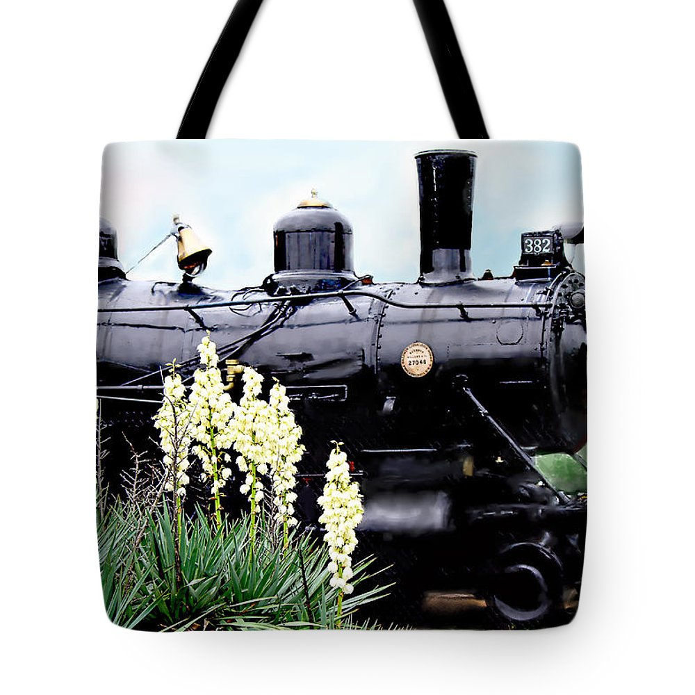 Train Tote Bag featuring the photograph The Black Steam Engine by Bonnie Willis