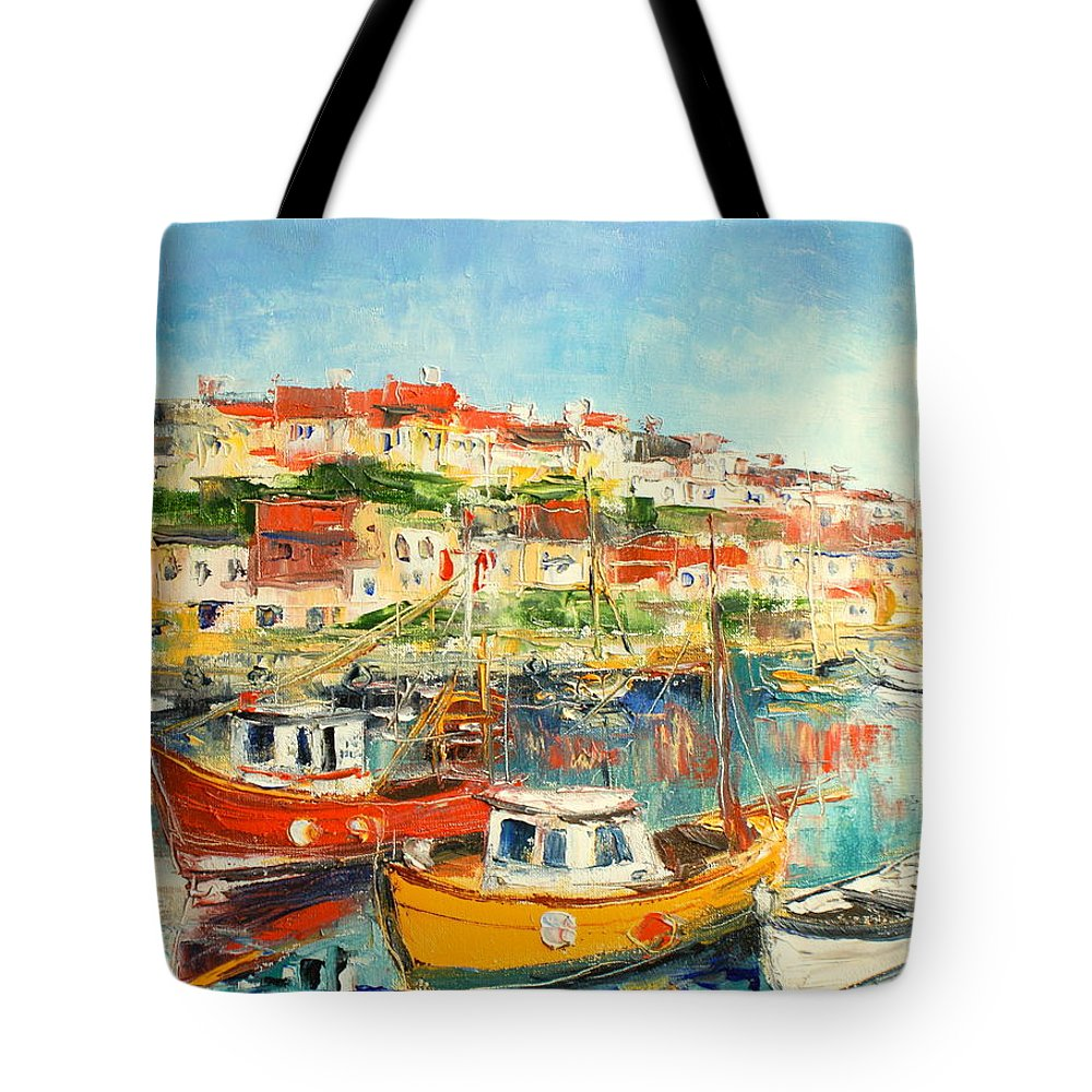 Brixham Tote Bag featuring the painting The Brixham Harbour by Luke Karcz