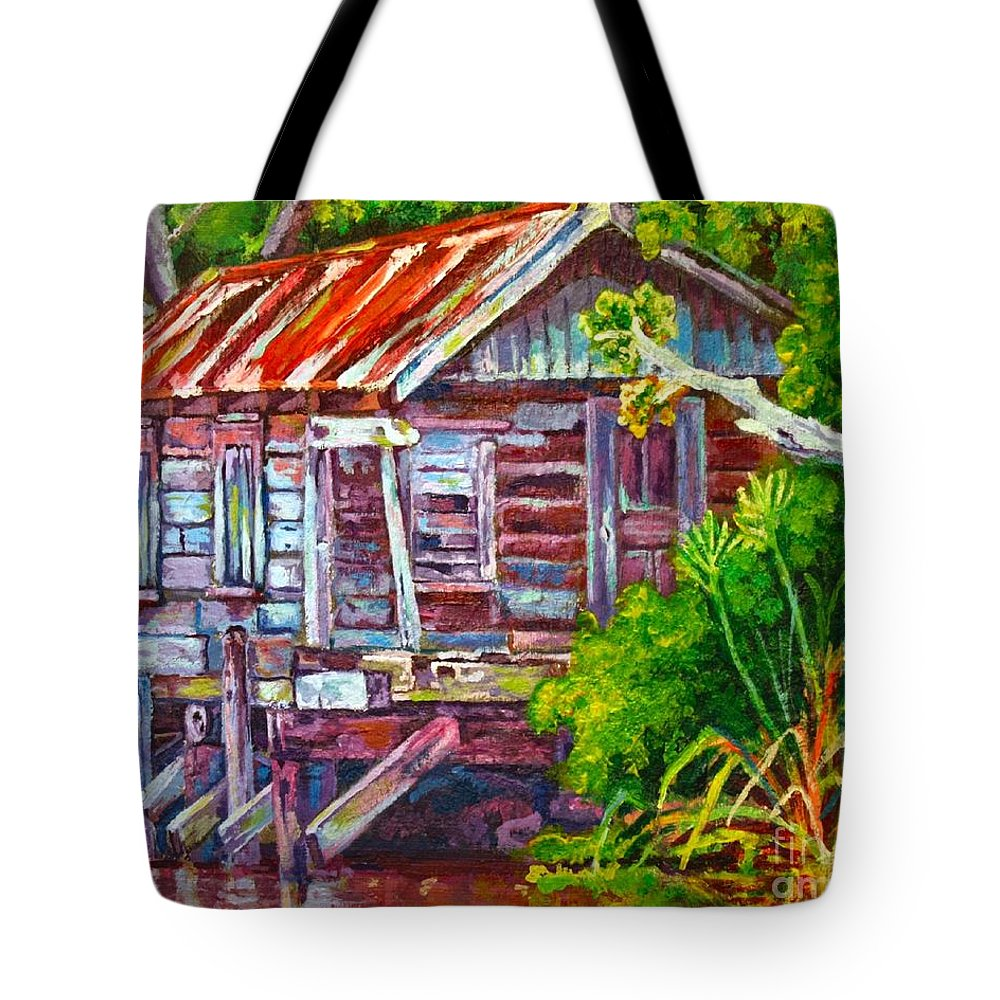 Art Tote Bag featuring the painting The Camp Bayou by Lisa Tygier Diamond