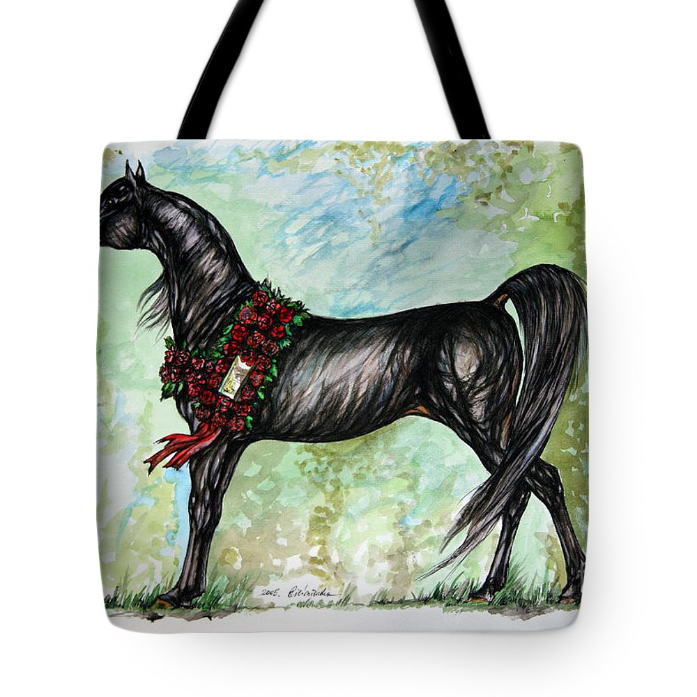 Horse Tote Bag featuring the painting The Champion by Angel Ciesniarska