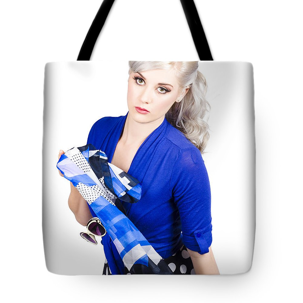 Girl Tote Bag featuring the photograph The Classic Pin-up Image. Girl In Retro Style by Jorgo Photography - Wall Art Gallery