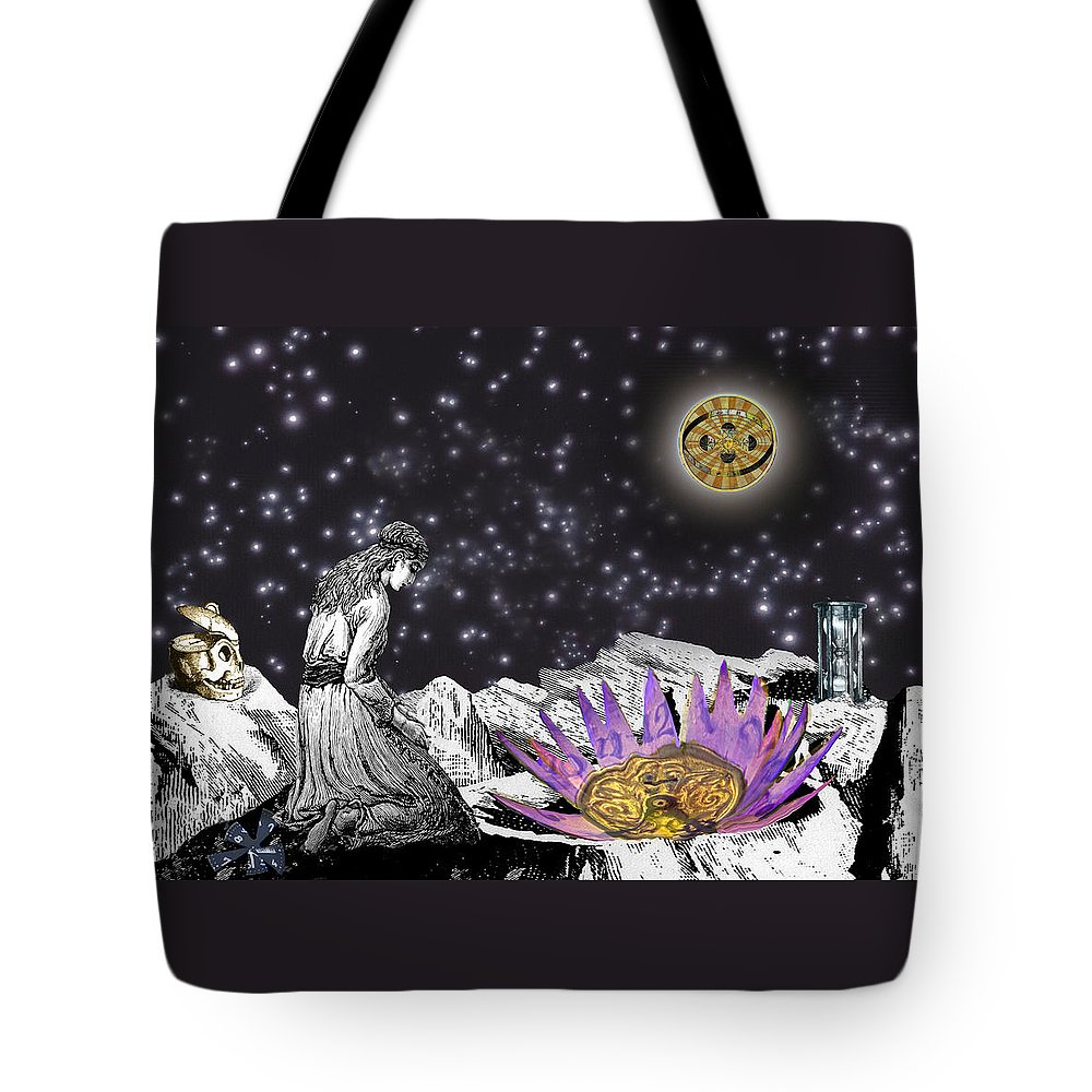 Young Woman Tote Bag featuring the digital art The Clock's Petals Open by Lisa Yount
