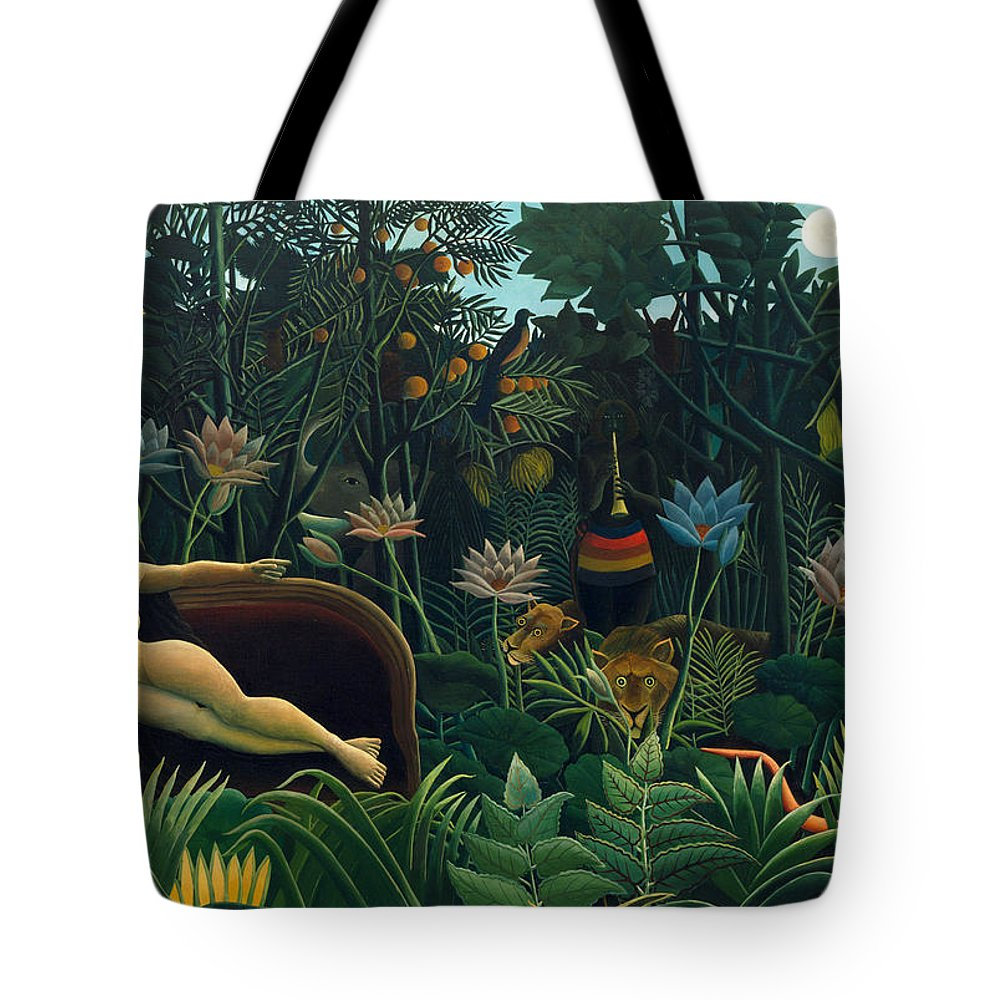 Henri Rousseau Tote Bag featuring the painting The Dream by Henri Rousseau