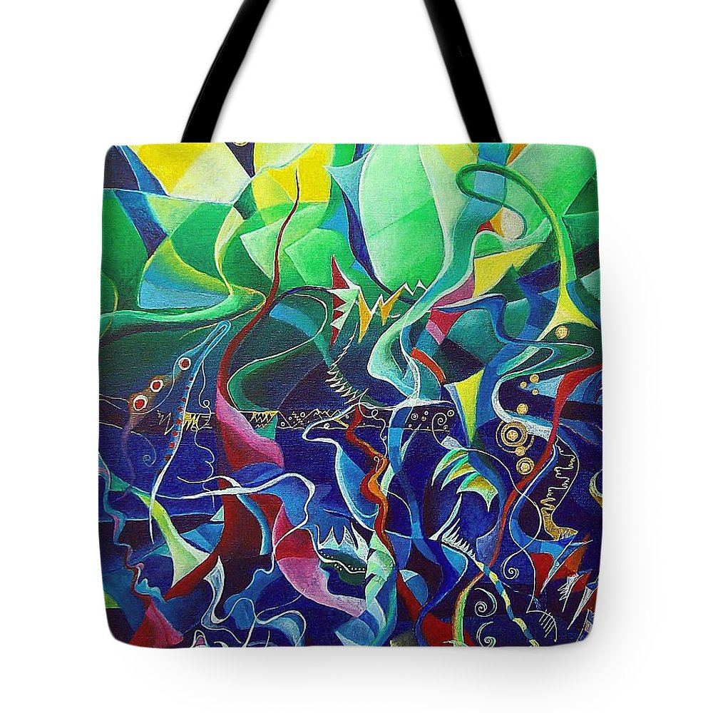 Darius Milhaud Tote Bag featuring the painting the dreams of Jacob by Wolfgang Schweizer