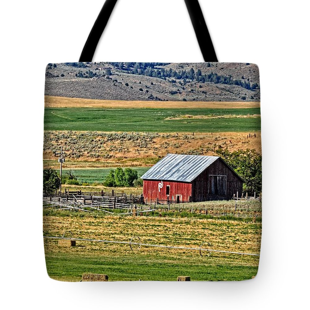 Barn Tote Bag featuring the photograph The Farm by Image Takers Photography LLC