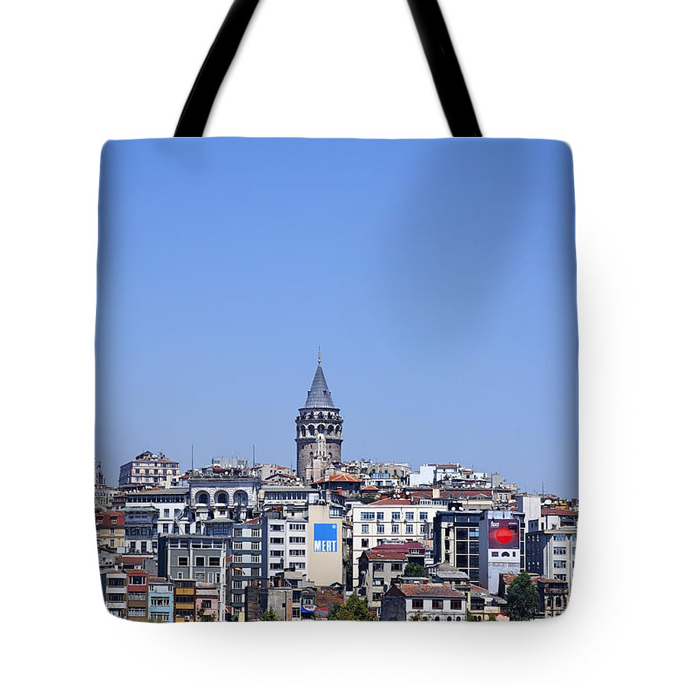 Galata Tote Bag featuring the photograph The Galata Tower And Istanbul City Skyline In Turkey  by Robert Preston