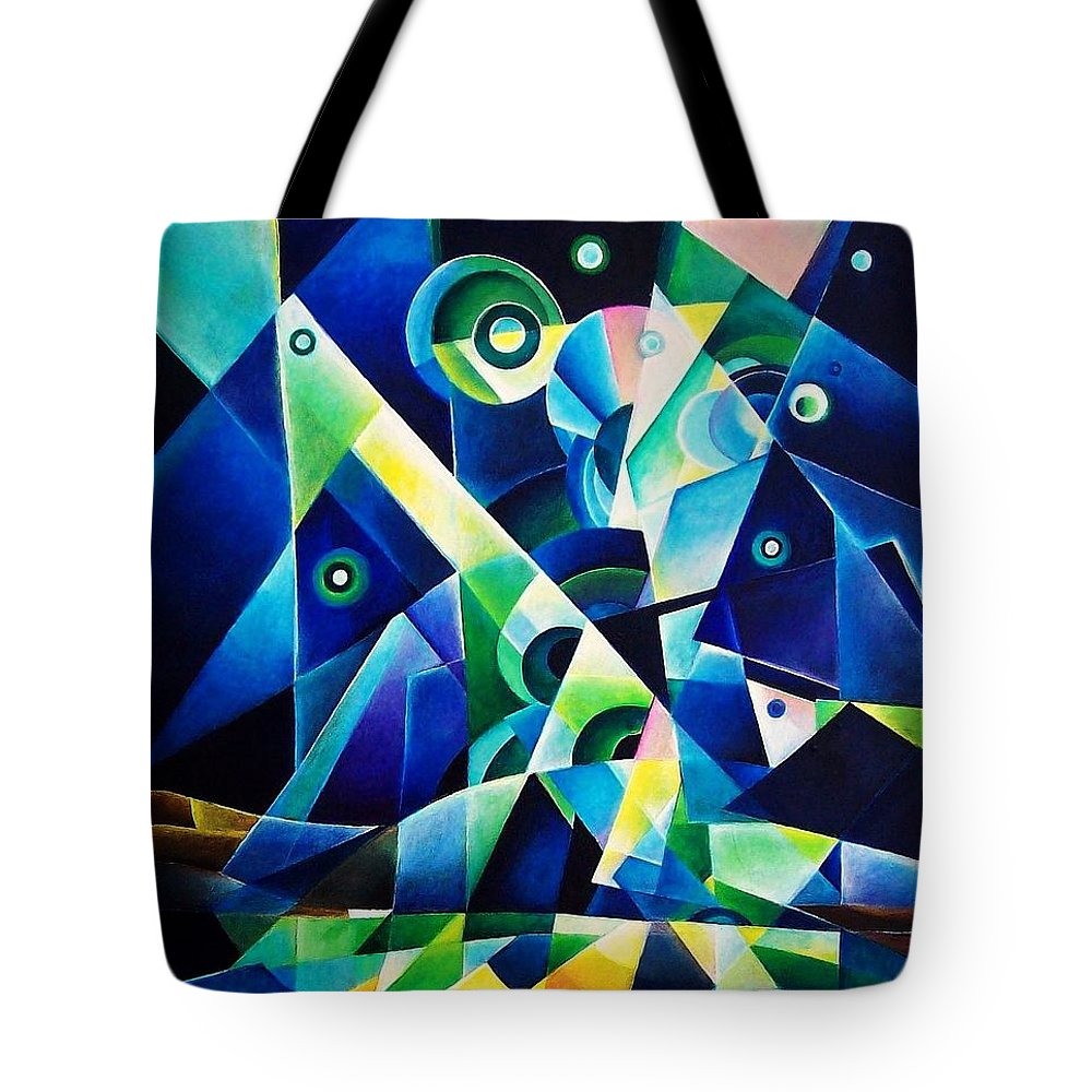 Gates Acrylics Abstract Tote Bag featuring the painting The Gates by Wolfgang Schweizer