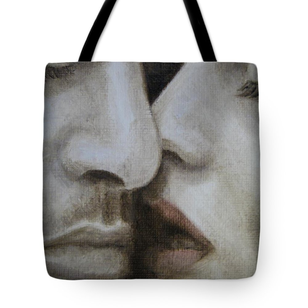 Noewi Tote Bag featuring the painting The Kiss by Jindra Noewi