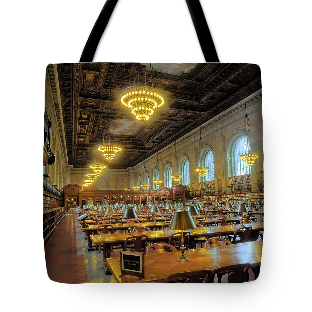 The New York Public Library Tote Bag featuring the photograph The New York Public Library by Dave Mills