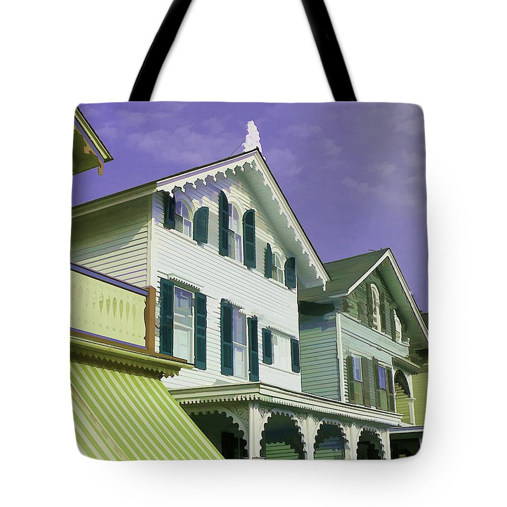 Cape Tote Bag featuring the photograph The Painted Ladies Of Cape May by Allen Beatty