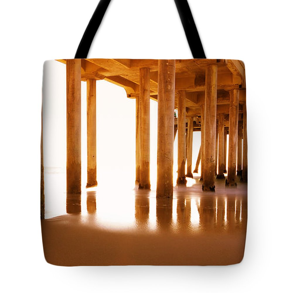 Beach Tote Bag featuring the photograph The Pier II by Heidi Smith