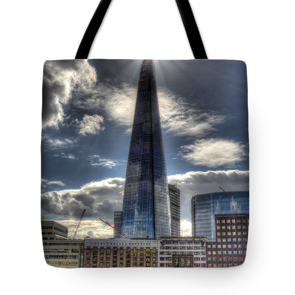 London Bridge Tote Bag featuring the photograph The Shard And South Bank by David Pyatt