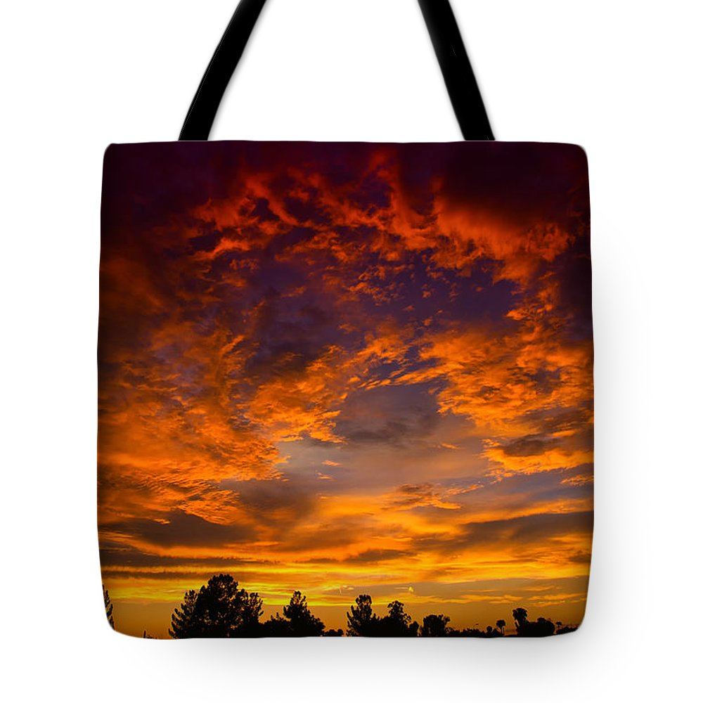 Sunset Tote Bag featuring the photograph The Sky Is On Fire by Saija Lehtonen