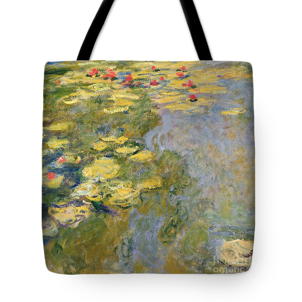Impressionist Tote Bag featuring the painting The Waterlily Pond by Claude Monet