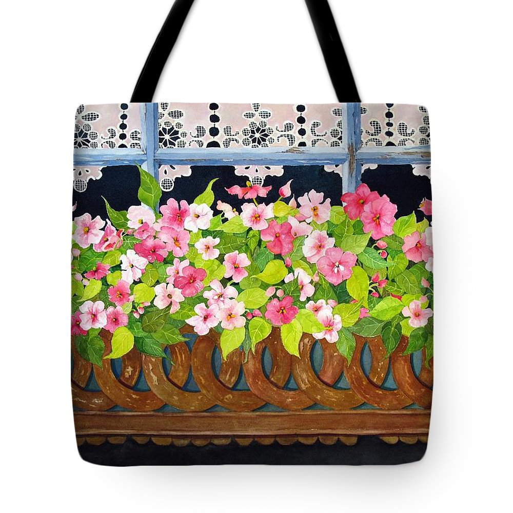 Impatients Tote Bag featuring the painting The Window Box by Mary Ellen Mueller Legault