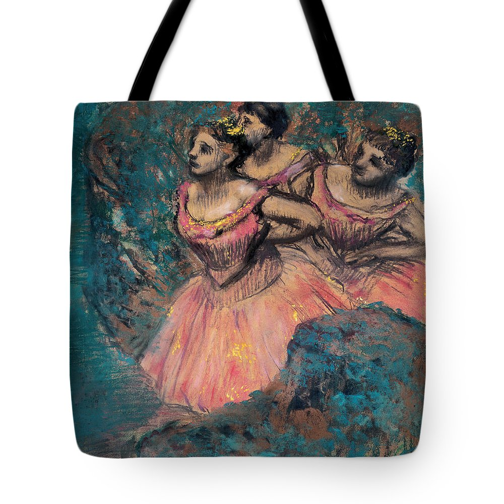 Edgar Degas Tote Bag featuring the painting Three Dancers In Red Costume by Edgar Degas