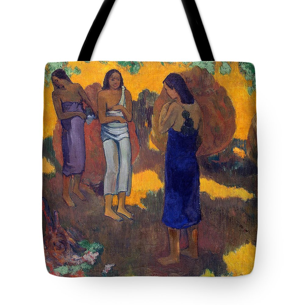 Paul Gauguin Tote Bag featuring the painting Three Tahitian Women Against A Yellow Background by Paul Gauguin
