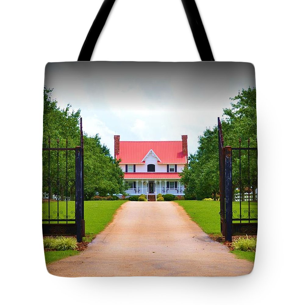 Gate Tote Bag featuring the photograph Through The Gate by Tara Potts