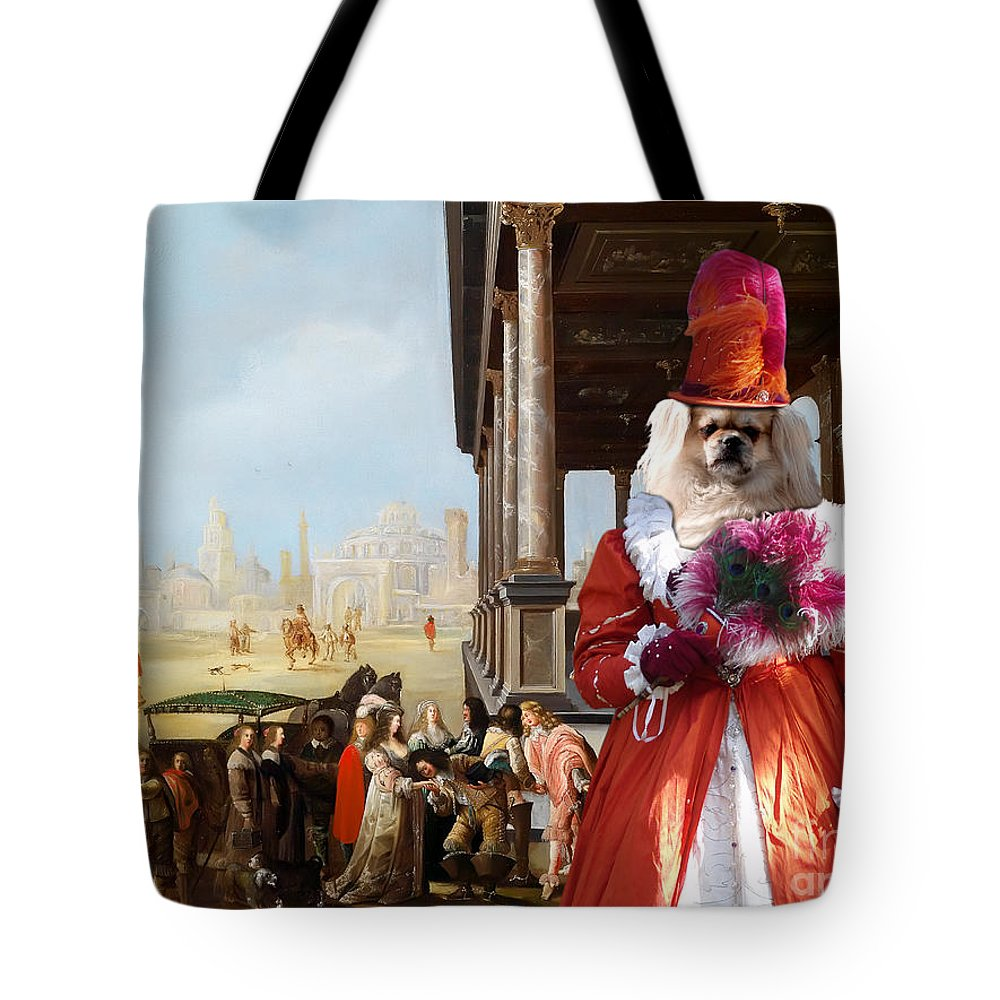 Tibetan Spaniel Tote Bag featuring the painting Tibetan Spaniel Art Canvas Print By Nobility Dogs by Sandra Sij