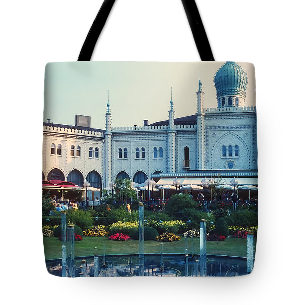 Tivoli Gardens Garden Copenhagen Denmark Flower Flowers Fountain Fountains Water Tree Trees Structure Structures Architecture Tote Bag featuring the photograph Tivoli Gardens by Bob Phillips