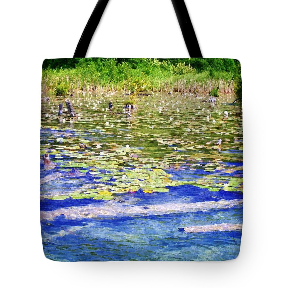 Lily Pad Tote Bag featuring the photograph Torch River Water Lilies by Michelle Calkins