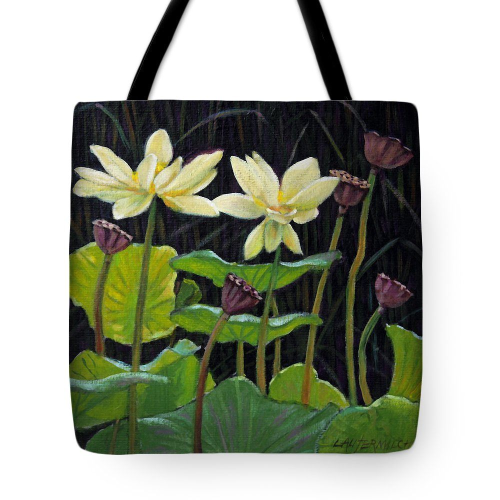Lotus Tote Bag featuring the painting Touching Lotus Blooms by John Lautermilch