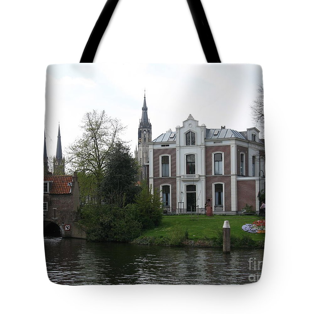 Town Canal Tote Bag featuring the photograph Town Canal - Delft by Christiane Schulze Art And Photography