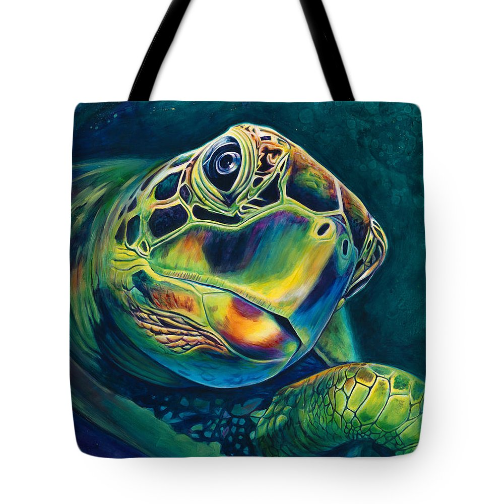 Sea Turtle Paintings Tote Bag featuring the painting Tranquility by Scott Spillman