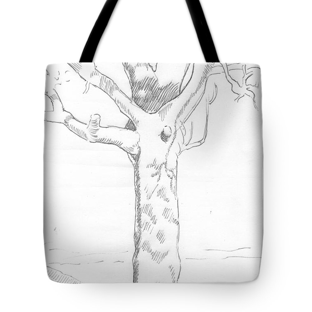 Tree Tote Bag featuring the drawing Tree Sketch by Mike Jory