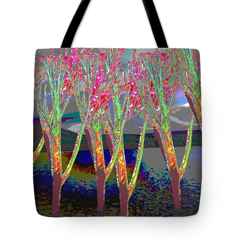 Trees Tote Bag featuring the mixed media Trees Around Faal Season Digitally Painted Photograph Taken Around Poconos Welcome To The Pocono M by Navin Joshi