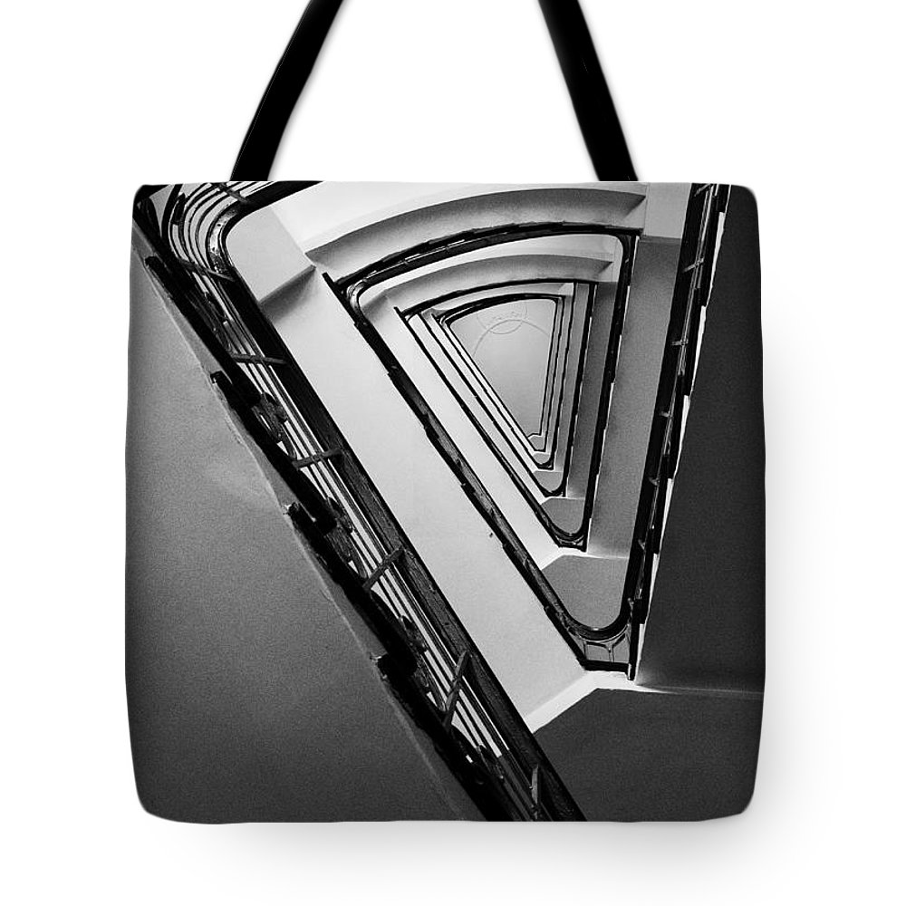 Interior View Tote Bag featuring the photograph Triangle Staircase by Jaroslaw Blaminsky