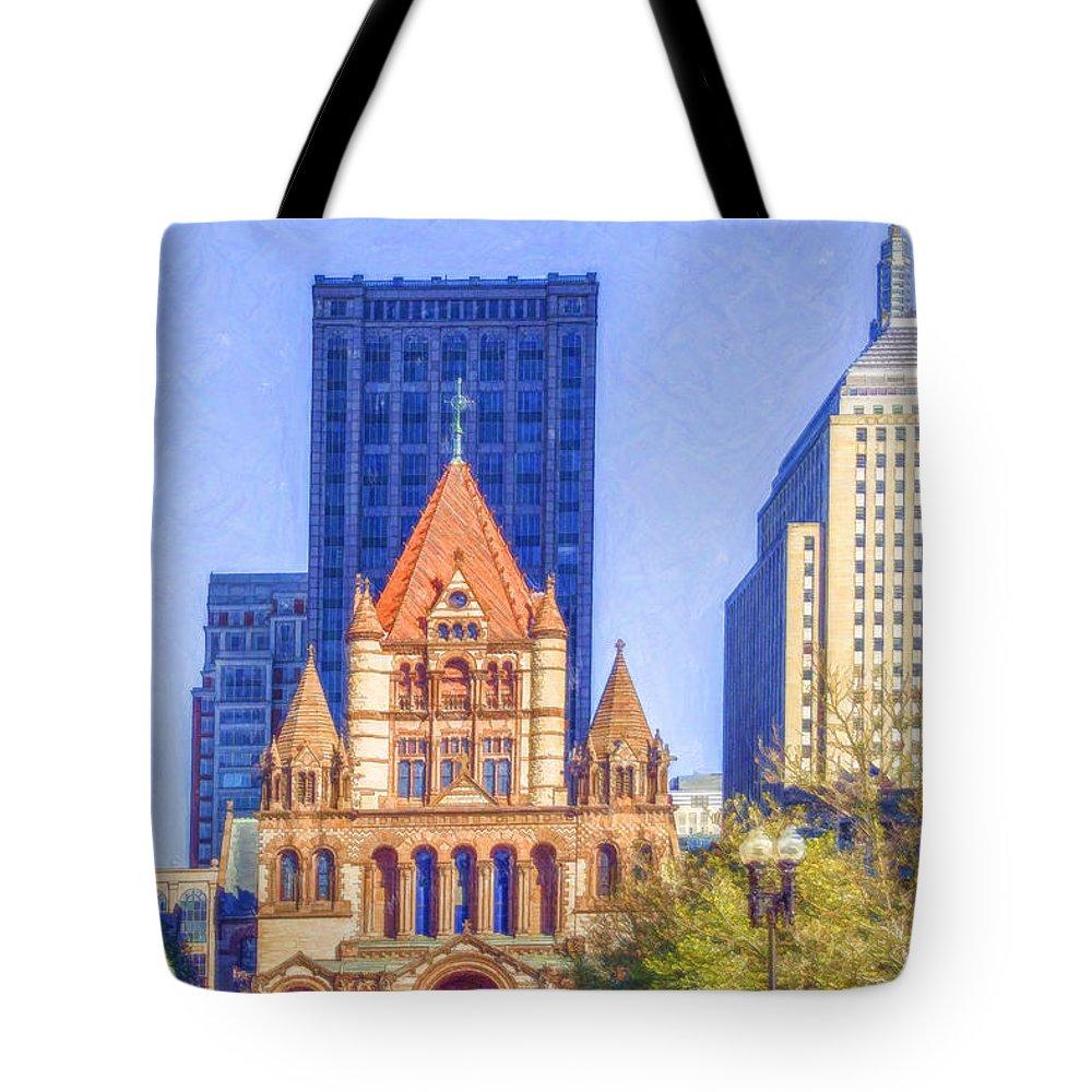 Trinity Church Tote Bag featuring the digital art Trinity Church Boston Usa by Liz Leyden