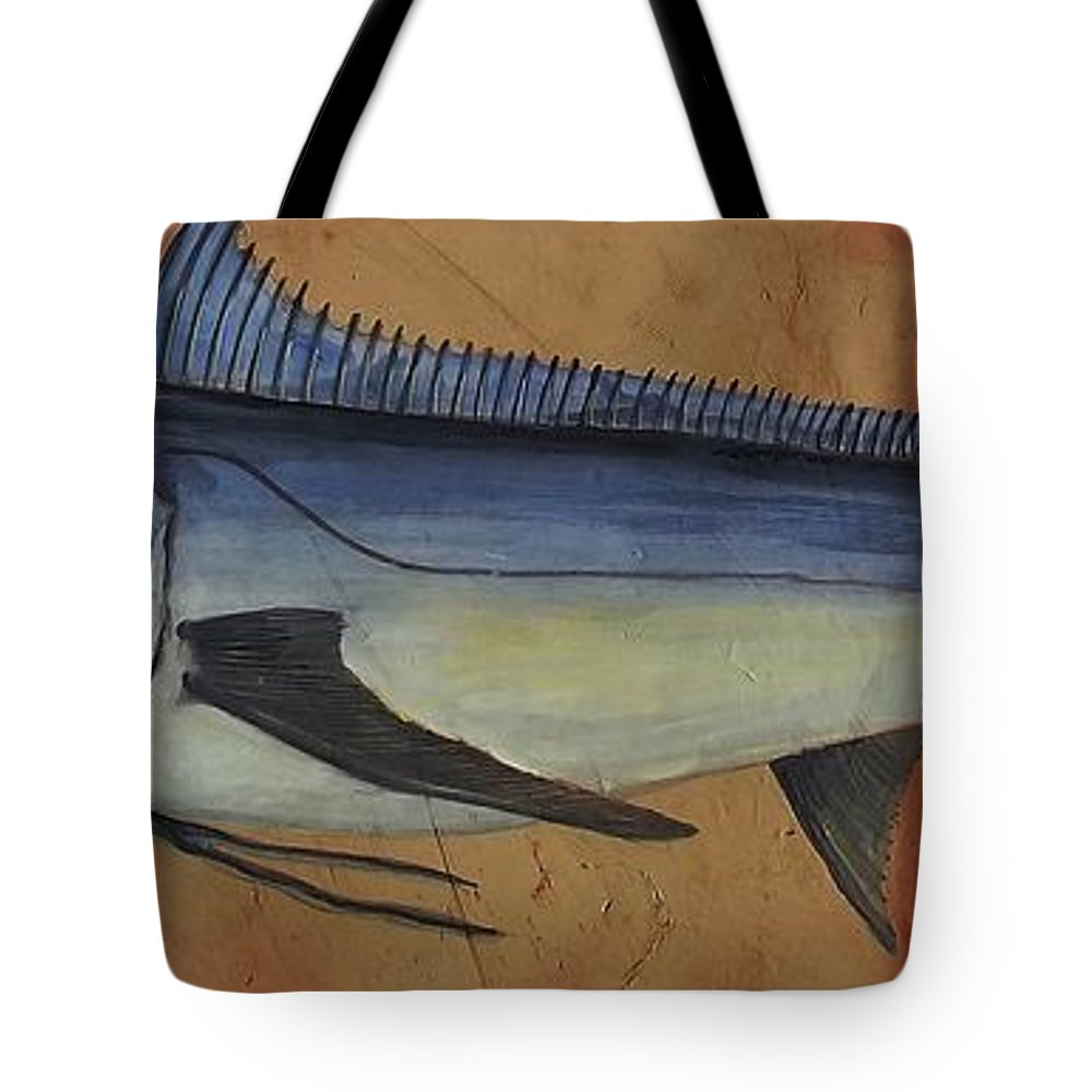 Fishing Sport Big Catch Tote Bag featuring the painting Trophy by Andrew Drozdowicz