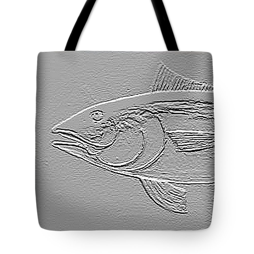 Fish Relief Tote Bag featuring the mixed media Tuna by Andrew Drozdowicz