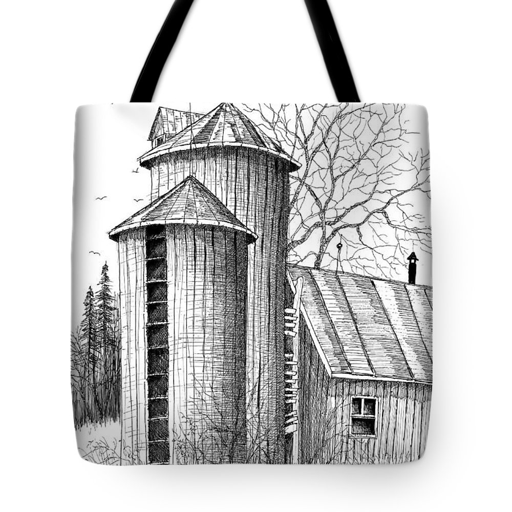 Pen & Ink Tote Bag featuring the painting Twin Silos by Steven Schultz