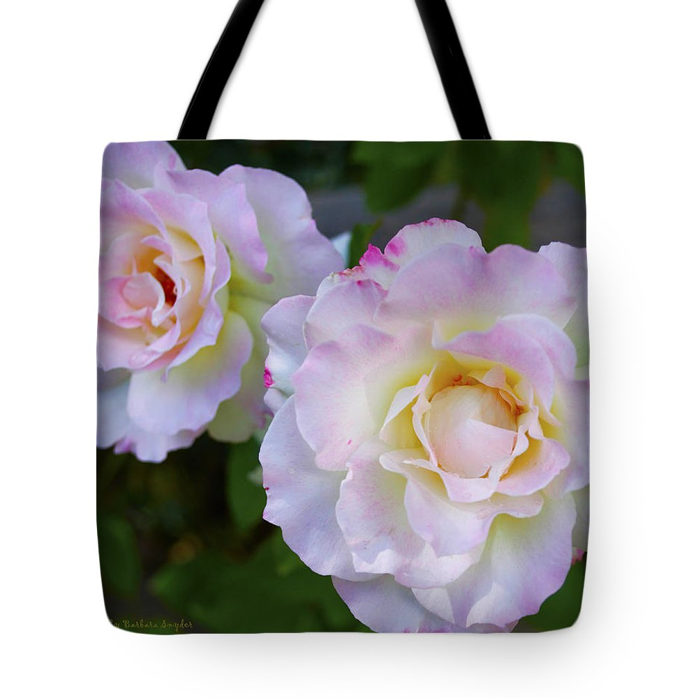 Two Pink Roses Tote Bag featuring the digital art Two White Roses by Floyd Snyder