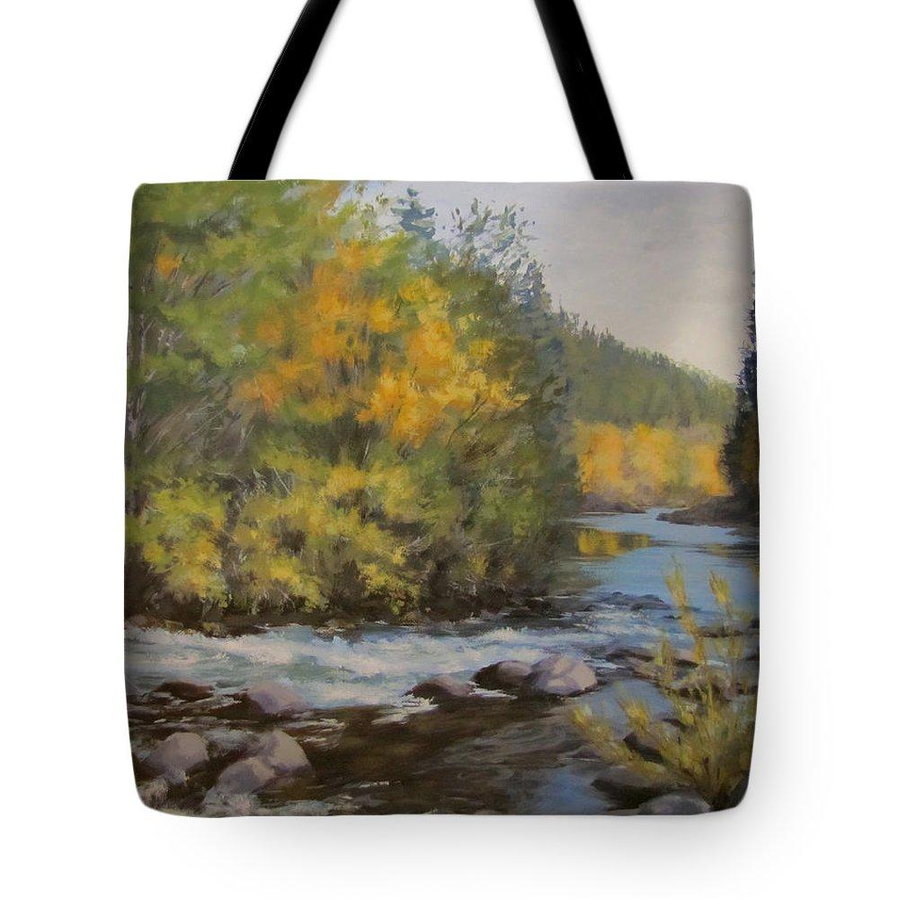 River Tote Bag featuring the painting Umpqua Fall by Karen Ilari
