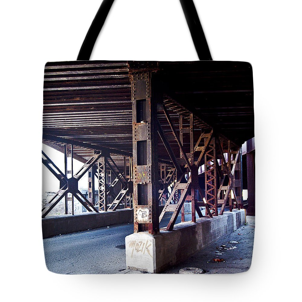 Tresses Tote Bag featuring the photograph Under The Tracks by Steven Dunn