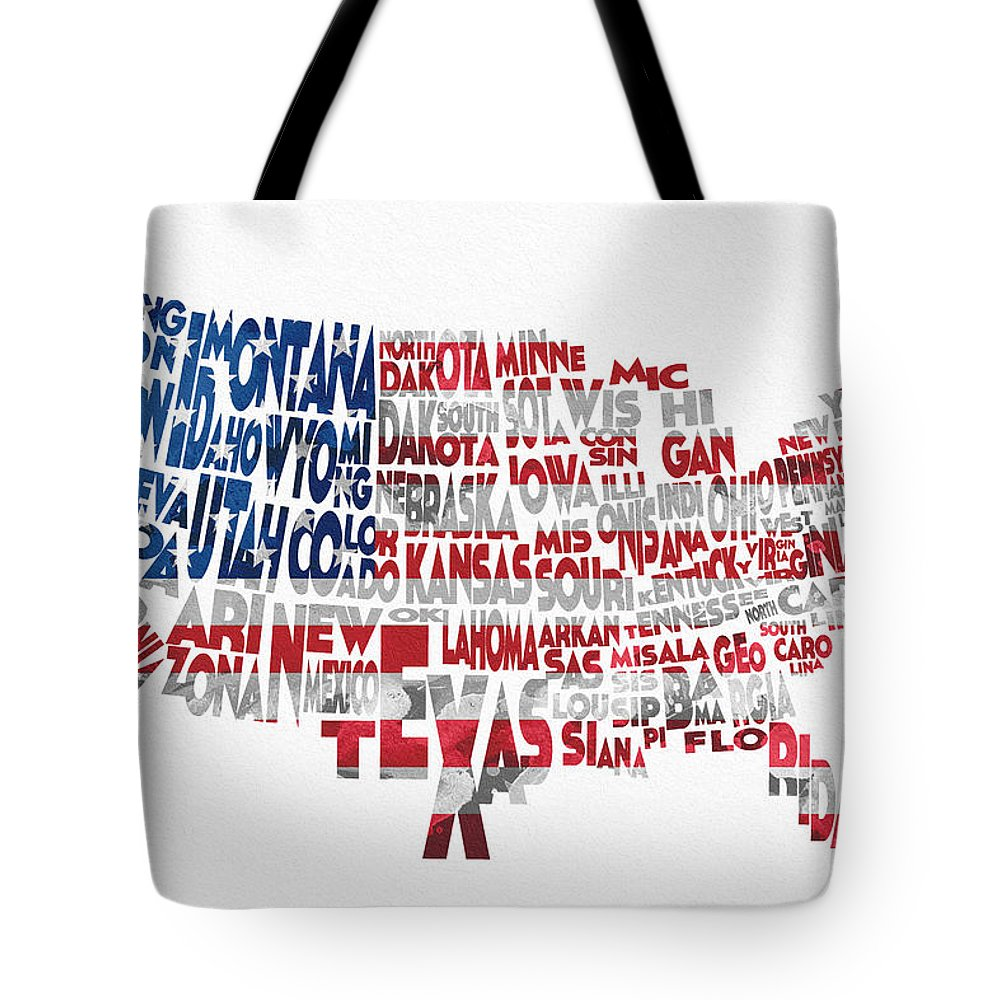 United States Tote Bag featuring the digital art United States Typographic Map Flag by Inspirowl Design