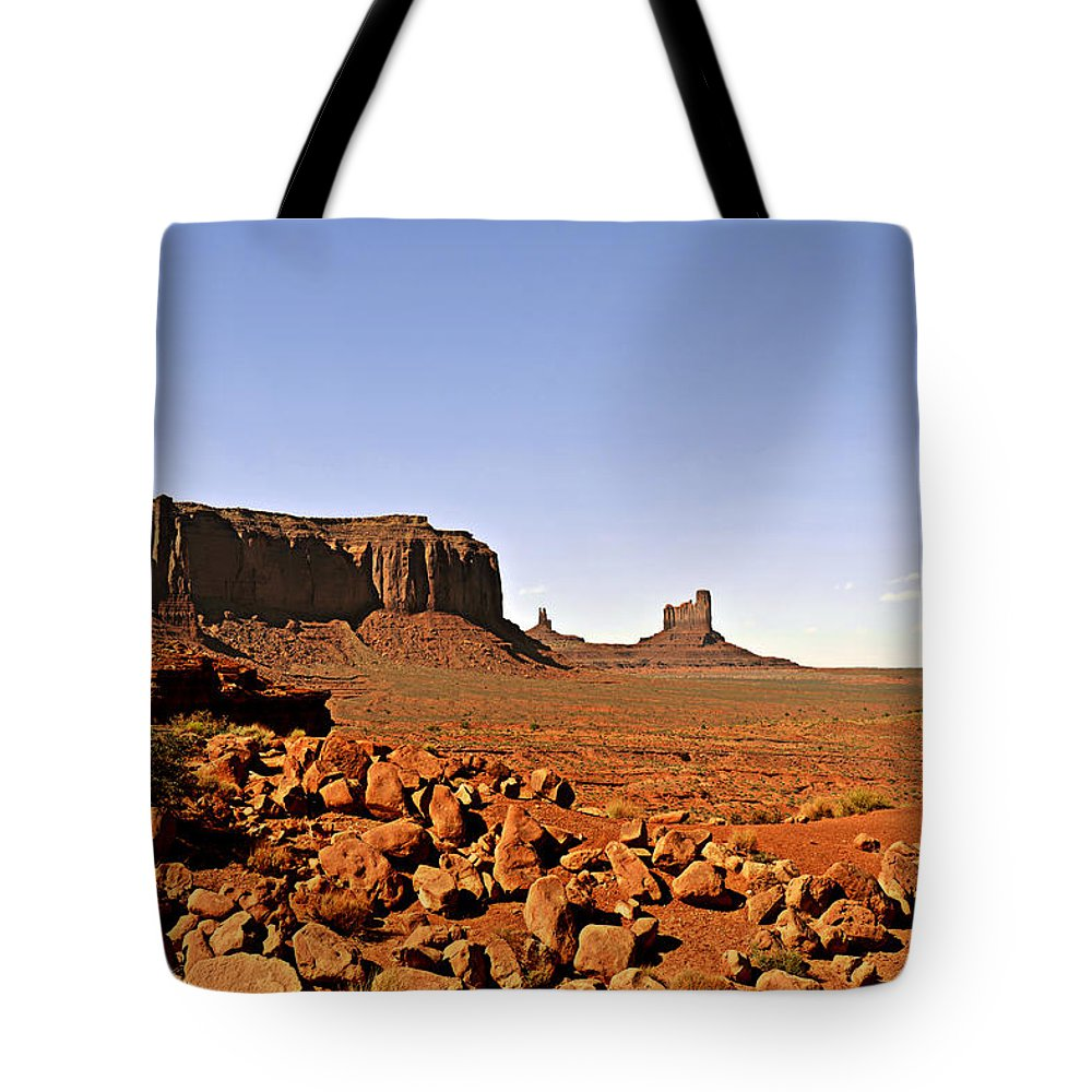 Monument Tote Bag featuring the photograph Utah's Iconic Monument Valley by Christine Till