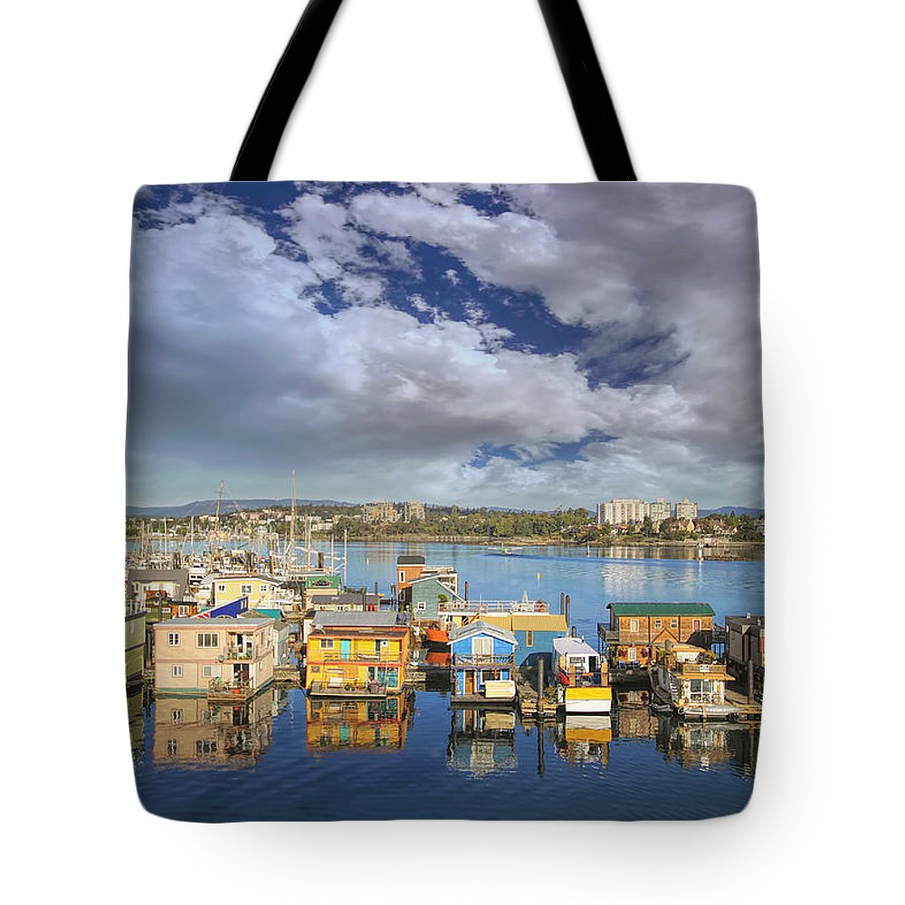 Victoria Tote Bag featuring the photograph Victoria Bc Fishermans Wharf by Jit Lim