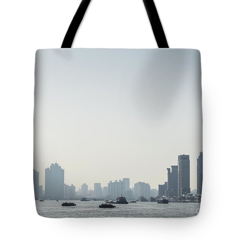 Architecture Tote Bag featuring the photograph View Of Shanghai River In China by Jacek Malipan