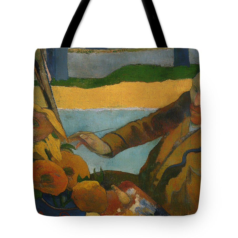 Paul Gauguin Tote Bag featuring the painting Vincent Van Gogh Painting Sunflowers by Paul Gauguin