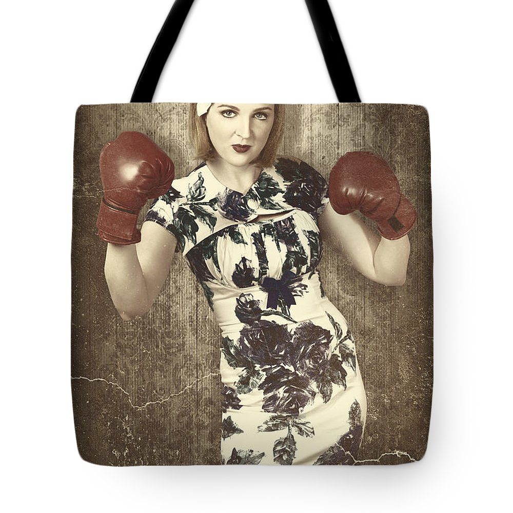 Vintage Tote Bag featuring the photograph Vintage Boxing Pinup Poster Girl. Retro Fight Club by Jorgo Photography - Wall Art Gallery