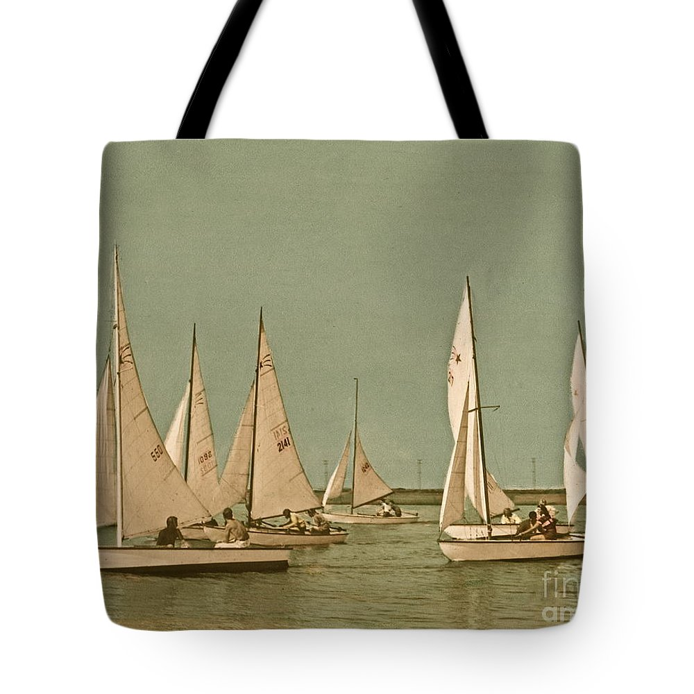 Comet Class Sailboat Tote Bag featuring the photograph Vintage Comet Race by Nancy Patterson