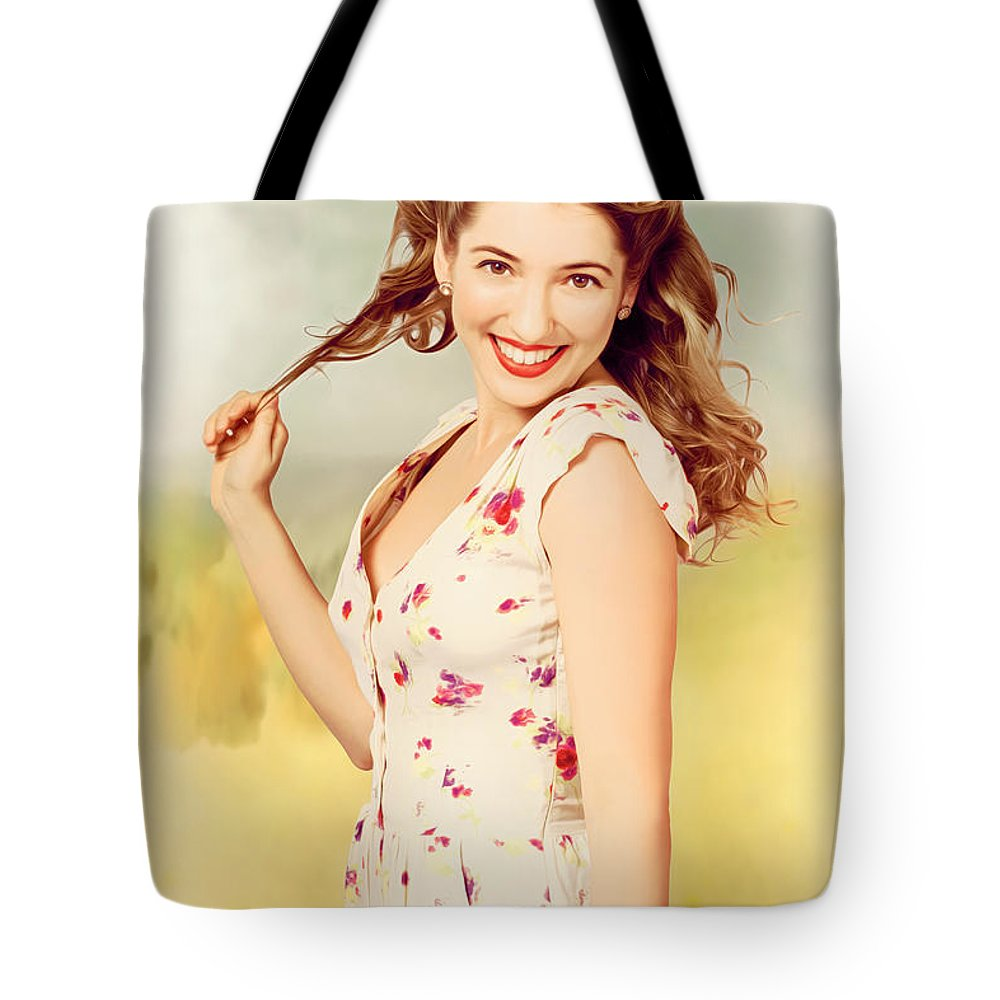 Illustration Tote Bag featuring the photograph Vintage Pinup Woman With Pretty Make-up And Hair by Jorgo Photography - Wall Art Gallery