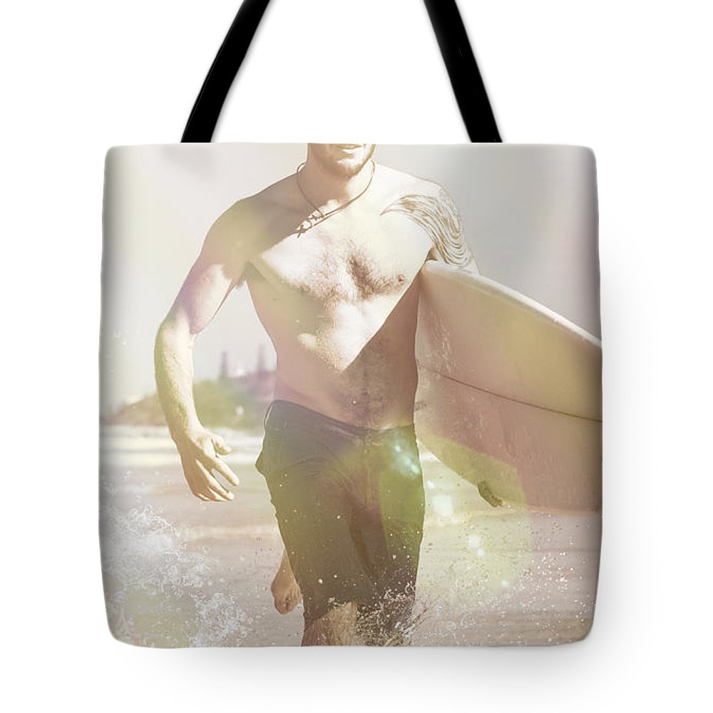 Aussie Tote Bag featuring the photograph Vintage Surfer Running With His Board In Surf by Jorgo Photography - Wall Art Gallery