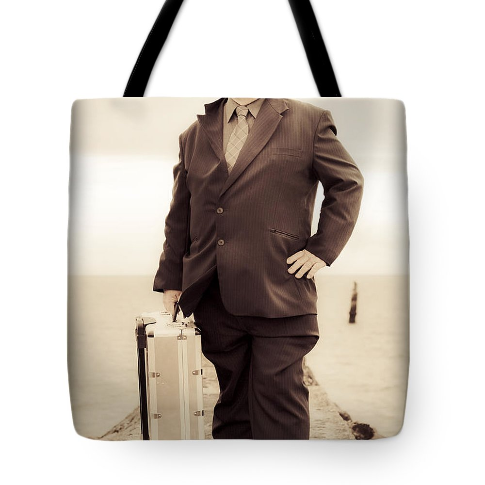 Person Tote Bag featuring the photograph Vintage Traveling Business Man by Jorgo Photography - Wall Art Gallery